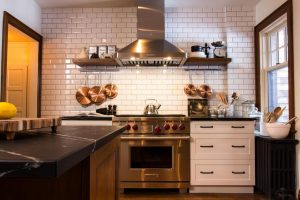 Kitchen remodel showing backsplash with ceramic