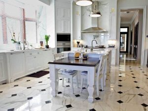 Exquisite-Flooring-For-Kitchen shiny and white