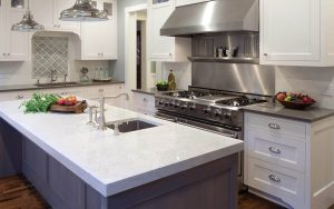 Quartz-Kitchen-Countertops-Near-Me white and stainless very shiny