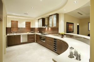 Unique-Kitchen-Cabinet-Design-in-Curvy-Line-Showing-a-Good-Combination-of-White-and-Wood