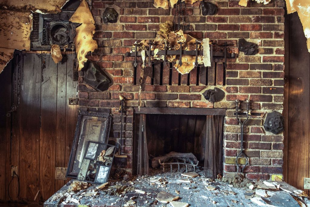 Fire place burnt down-fire damge-restoration-houston