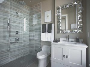 Bathroom renovation with toilet and bathroom with sliding door-min