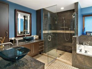 Luxury bathroom renovation with soarkling brown tiles-min